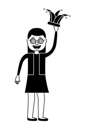 cheerful woman with glasses and jester hat vector illustration black and white design