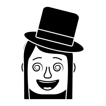 laughing face woman with crazy glasses and hat enjoy vector illustration black and white design