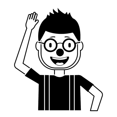 happy man clown mask hat and crazy glasses portrait vector illustration black and white design Иллюстрация