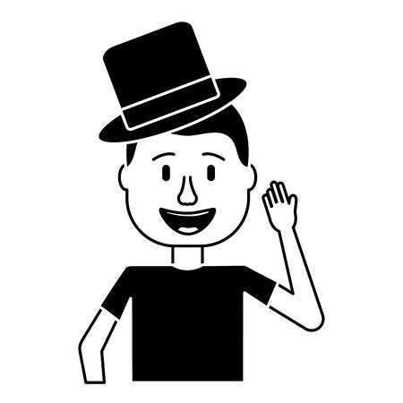 happy man hat comic portrait vector illustration black and white design