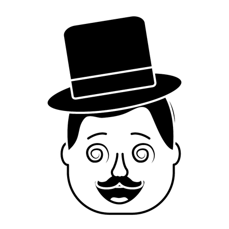 smiling face man with glasses jester hat and mustache vector illustration black and white design Illustration
