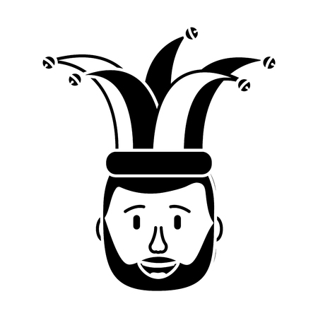 smiling face beard man with hat happy vector illustration black and white design