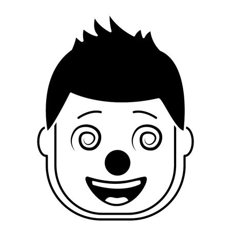 smiling face man with glasses and mask clown vector illustration black and white design Illustration