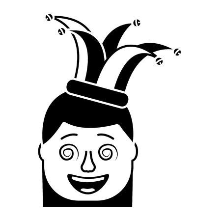 laughing face woman with crazy glasses and jester hat enjoy vector illustration black and white design