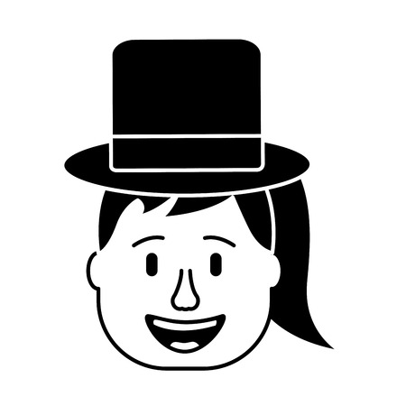 laughing face woman with hat enjoy vector illustration black and white design