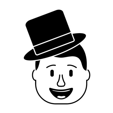 smiling face man with hat happy vector illustration black and white design