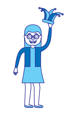 cheerful woman with glasses and jester hat vector illustration blue image design