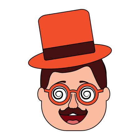 smiling face man with glasses jester hat and mustache vector illustration