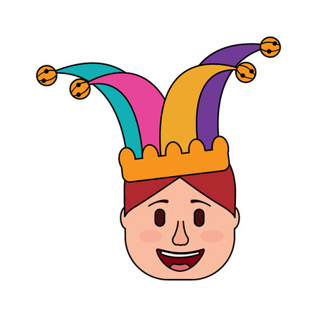 smiling face man with jester hat funny vector illustration
