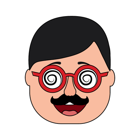 smiling face man mask with glasses mustache vector illustration