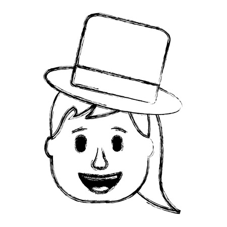laughing face woman with hat enjoy vector illustration sketch design