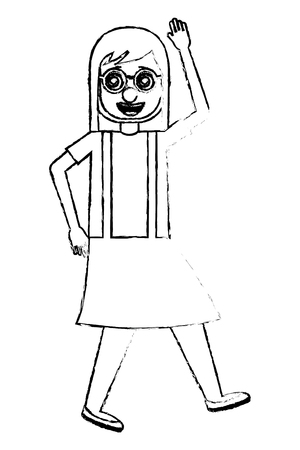 woman with clown mask silly glasses celebrating vector illustration sketch design