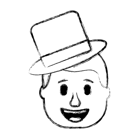 smiling face man with hat happy vector illustration sketch design