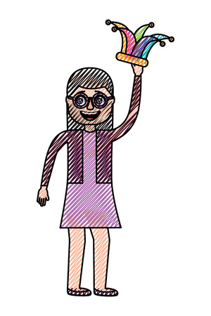 cheerful woman with glasses and jester hat vector illustration drawing design