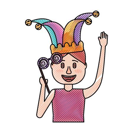 happy man jester hat and crazy glasses portrait vector illustration drawing design Иллюстрация