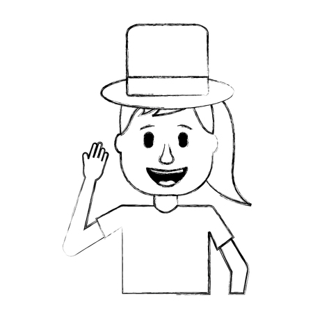 funny smile woman with silly hat vector illustration sketch design