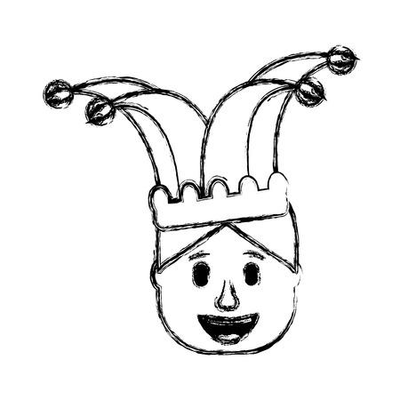 smiling face man with jester hat funny vector illustration sketch design