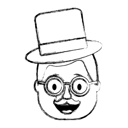 smiling face man with glasses jester hat and mustache vector illustration sketch design