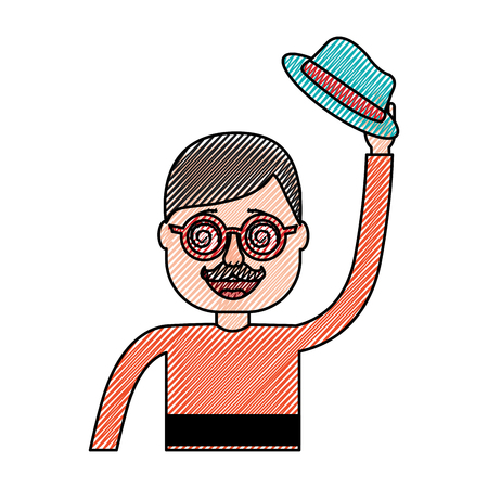 happy man hat and crazy glasses portrait vector illustration drawing design Иллюстрация