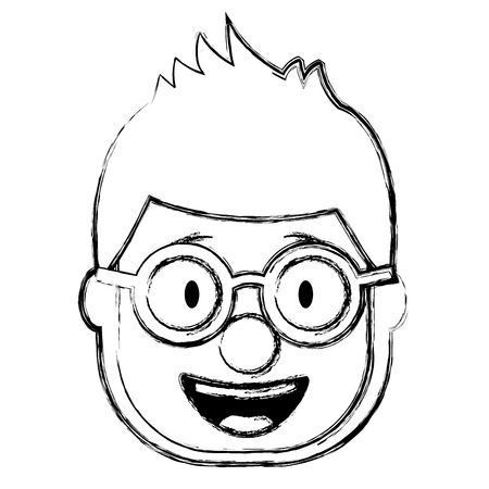 smiling face man with glasses and mask clown vector illustration sketch design