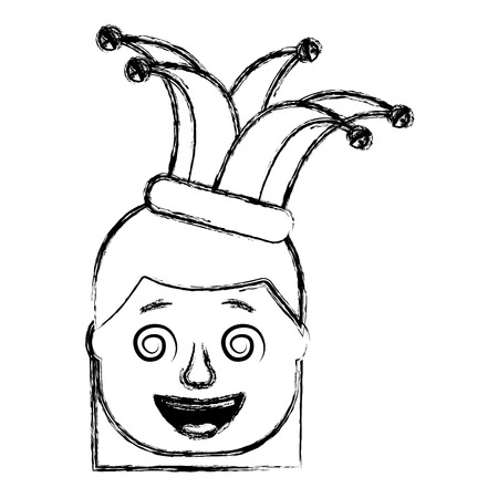 laughing face woman with crazy glasses and jester hat enjoy vector illustration sketch design 일러스트