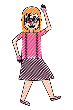 woman with clown mask silly glasses celebrating vector illustration drawing design Stock fotó - 96656147