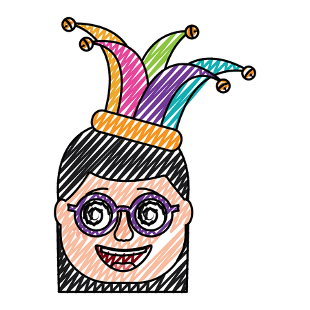 laughing face woman with crazy glasses and jester hat enjoy vector illustration drawing design Illustration