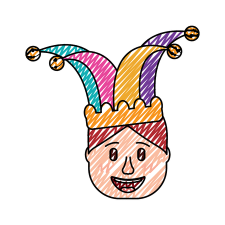 smiling face man with jester hat funny vector illustration drawing design