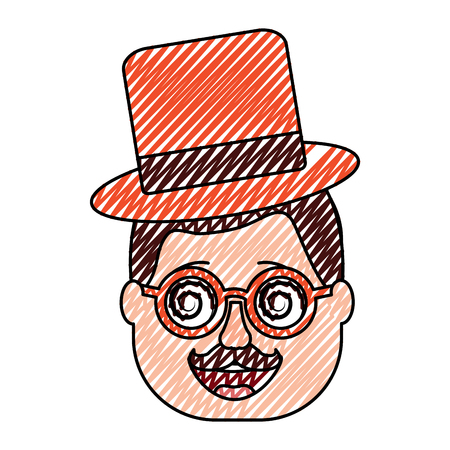 smiling face man with glasses jester hat and mustache vector illustration drawing design