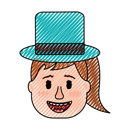 laughing face woman with hat enjoy vector illustration drawing design