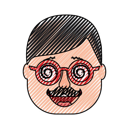 smiling face man mask with glasses mustache vector illustration drawing design