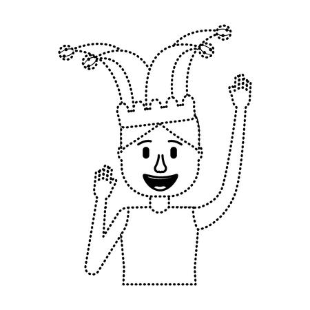 happy man jester hat and crazy glasses portrait vector illustration dotted line design Illustration