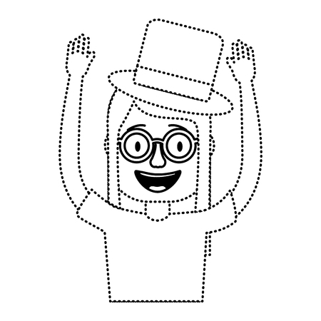 funny smile woman with silly glasses and hat vector illustration dotted line design  イラスト・ベクター素材