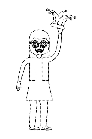 cheerful woman with glasses and jester hat vector illustration dotted line design Vettoriali