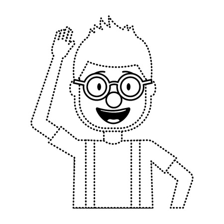 happy man clown mask hat and crazy glasses portrait vector illustration dotted line design Иллюстрация