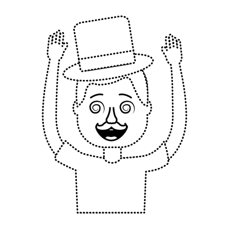 happy man hat and crazy glasses portrait vector illustration dotted line design