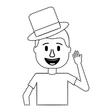 happy man hat humor portrait vector illustration dotted line design Иллюстрация