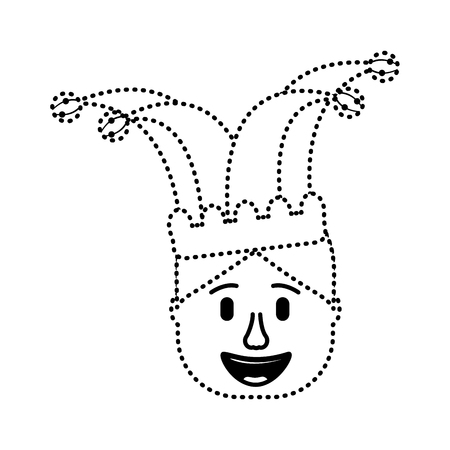 smiling face man with jester hat funny vector illustration dotted line design