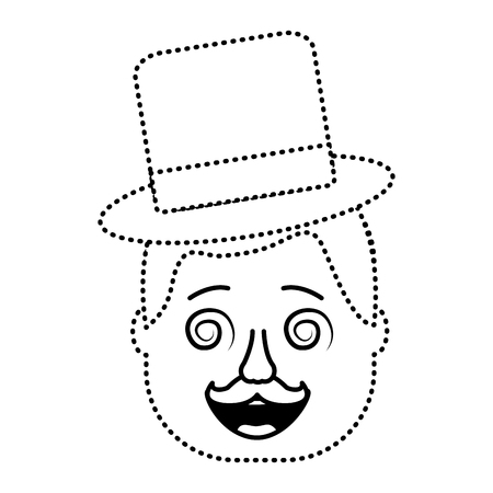 smiling face man with glasses jester hat and mustache vector illustration dotted line design Illustration