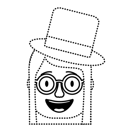 laughing face woman with crazy glasses and hat enjoy vector illustration dotted line design