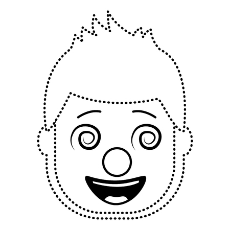 smiling face man with glasses and mask clown vector illustration dotted line design
