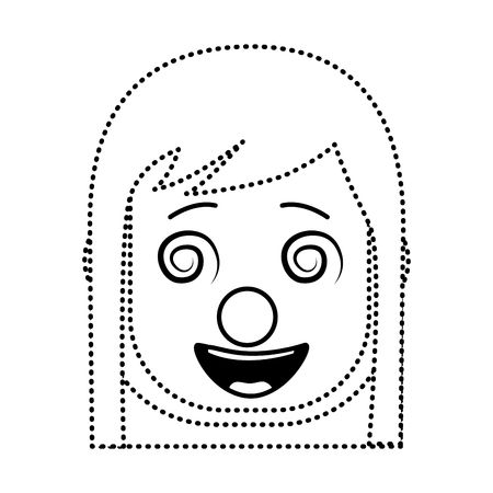 laughing face woman with crazy glasses mask clown enjoy vector illustration dotted line design