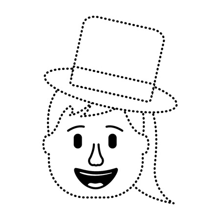 laughing face woman with hat enjoy vector illustration dotted line design