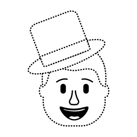 smiling face man with hat happy vector illustration dotted line design Illustration