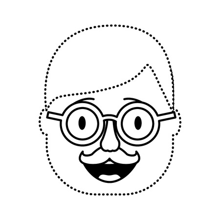 smiling face man mask with glasses mustache vector illustration dotted line design