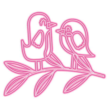 cute couple birds together in tree branch vector illustration