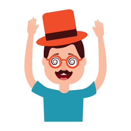 happy man hat and crazy glasses portrait vector illustration