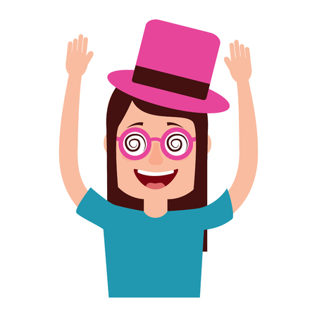 funny smile woman with silly glasses and hat vector illustration Ilustração