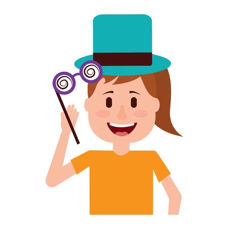 funny smile woman with silly glasses and hat vector illustration Illustration