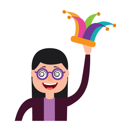funny smile woman with silly glasses and jester hat vector illustration  イラスト・ベクター素材